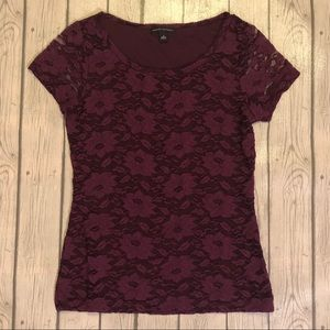 Banana Republic Purple Lace Short Sleeve Top S
